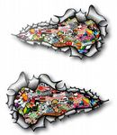 SMALL Long Pair Ripped Metal Design With Colour JDM Style Stickerbomb Vinyl Car Sticker 73x41mm Each